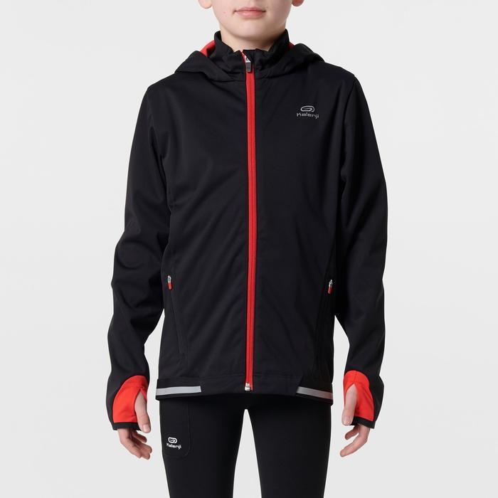 chaqueta de atletismo para niños kiprun warm negro rojo