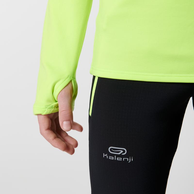 Run Warm children's long-sleeved athletics top - neon yellow