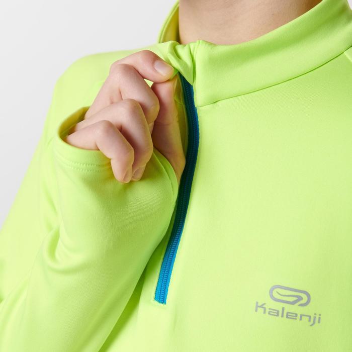 camiseta de manga larga atletismo niño run warm amarillo fluorescente