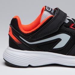 Hardloopschoenen kinderen Run Support klittenband zwart grijs fluo-oranje