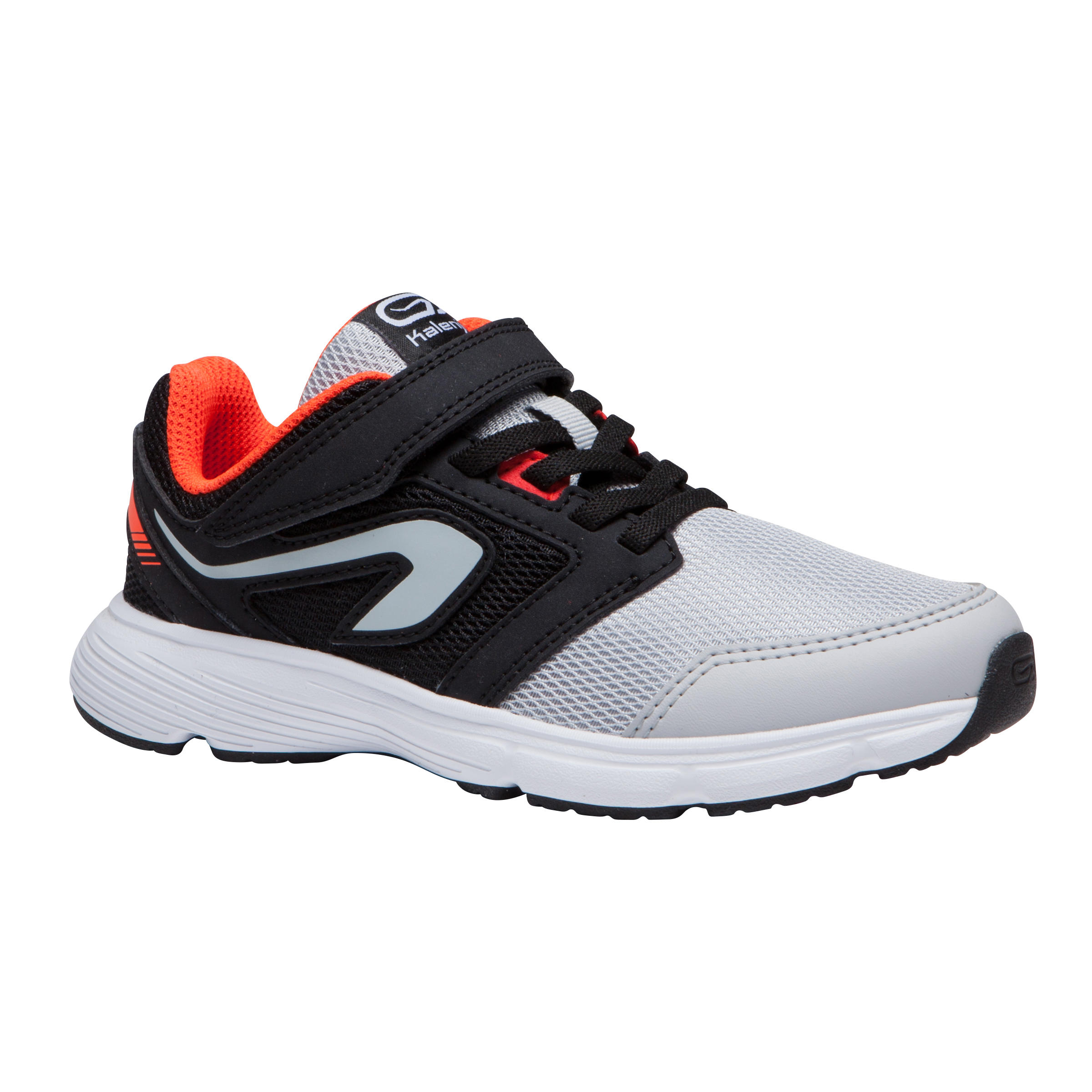 RUN SUPPORT RIP-TAB CHILDREN'S ATHLETIC SHOES - BLACK GREY ORANGE NEON