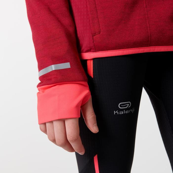 maillot manches longues athlétisme fille kiprun warm rose foncé-corail
