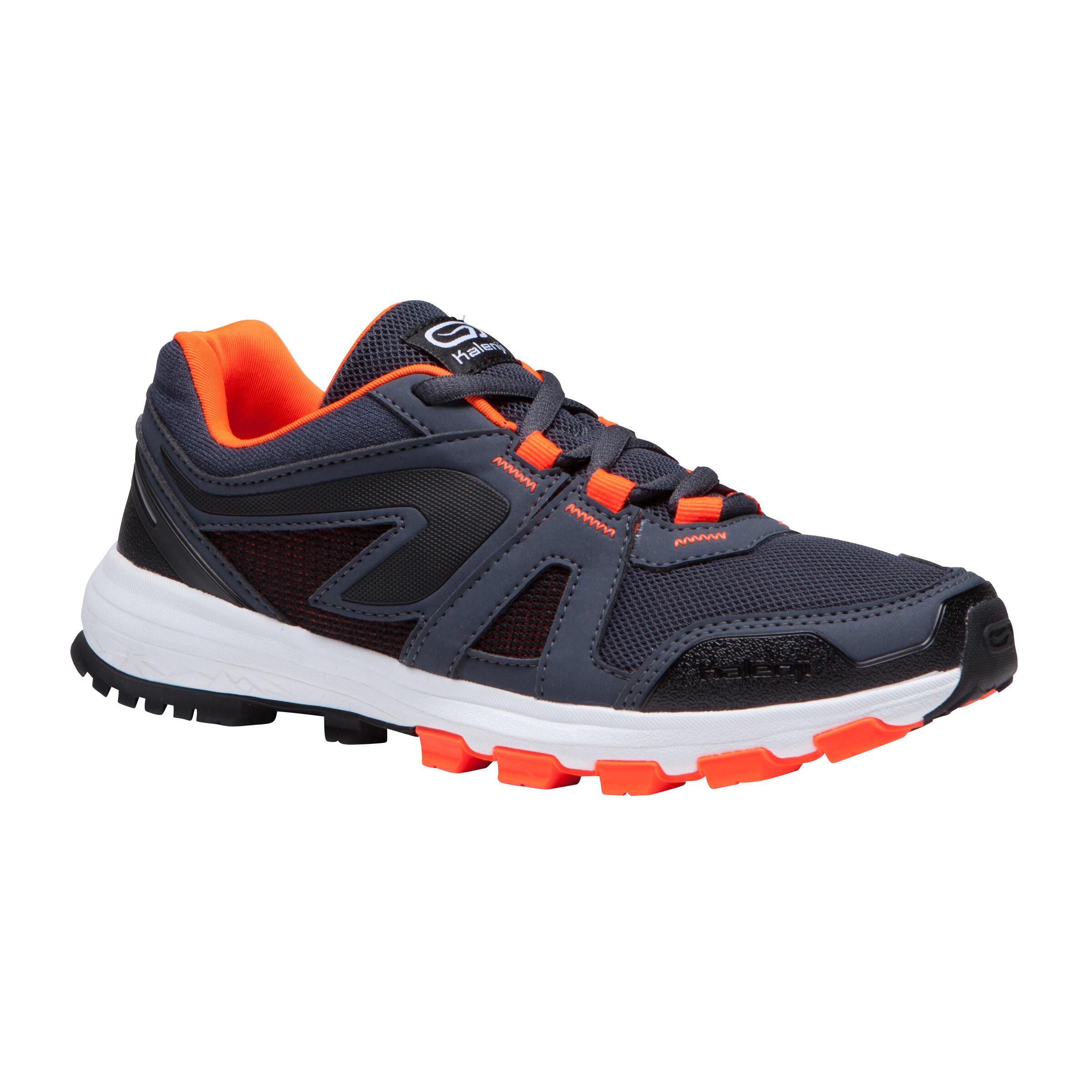 Laufschuhe Leichtathletik Kiprun Grip Kinder grau/schwarz/neonorange