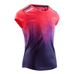 T-shirt atletiek Run Dry+ voor kinderen roze/paars met opdruk