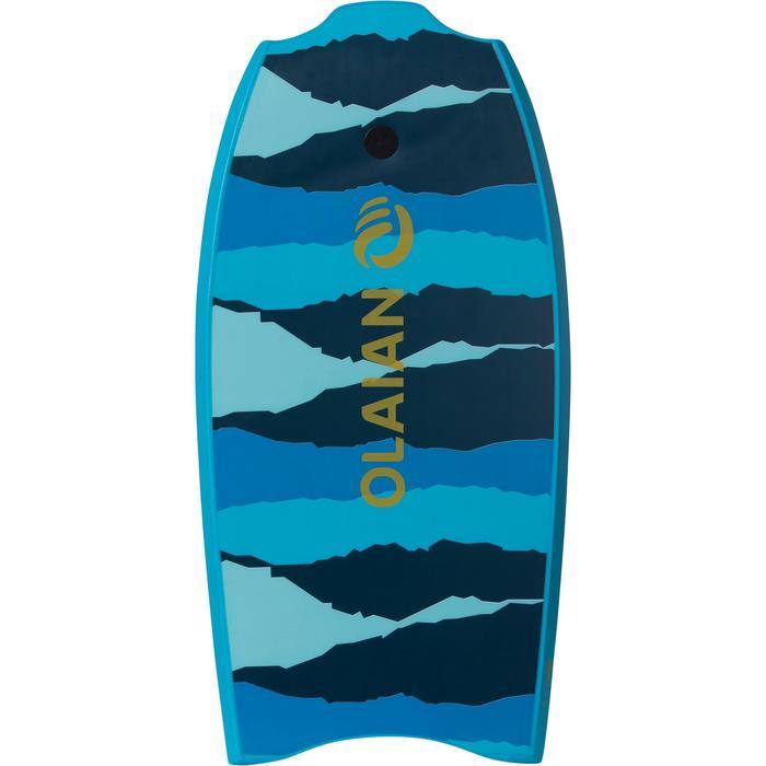 """Bodyboard 100 turquoise 1m45-1m65 38"""" avec semelle de glisse et leash"""