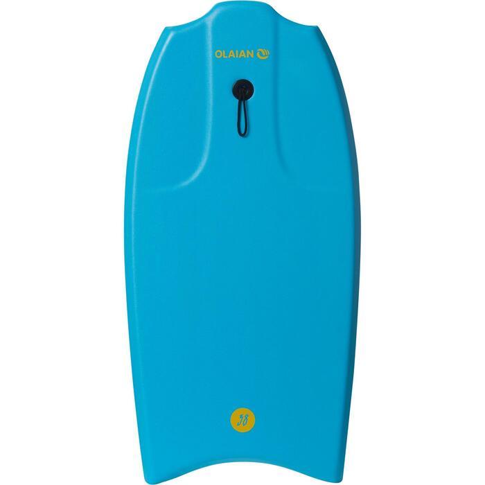 """Bodyboard 100 turquesa 1,45m - 1,65m 38"""" con fondo deslizante y leash"""