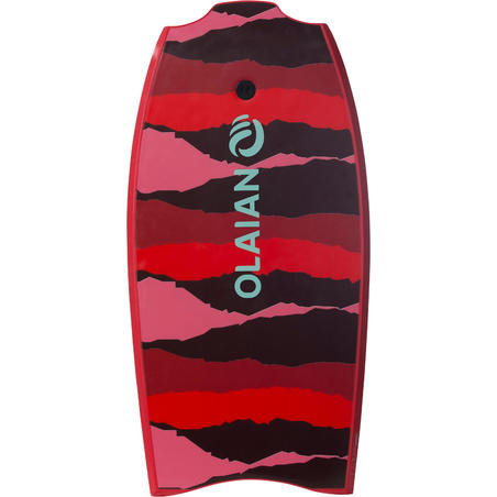 """BODYBOARD 100 red 1.65m-1.85m 42"""" with glide slick and leash"""