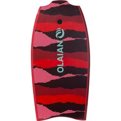 """Bodyboard 100 42"""" rot für Größe 1,65–1,85m mit Slick (Gleitfläche) und Leash"""