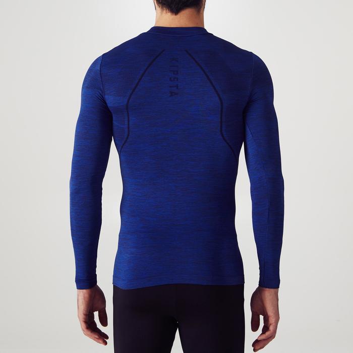 Ondershirt met lange mouwen voetbal voor volwassenen Keepdry 500 gemêleerd blauw