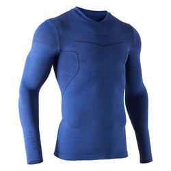 Camiseta térmica de fútbol de manga larga adulto Keepdry 500 azul jaspeado osc.