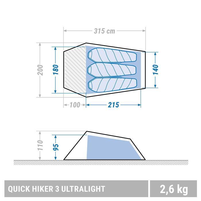 Tente de trek Quickhiker Ultralight 3 personnes gris clair - 1355437