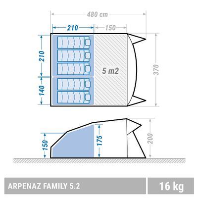 Carpa familiar Arpenaz 5.2 _PIPE_ 5 personas