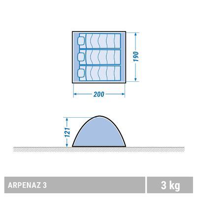 Намет Arpenaz для кемпінгу, 3-місний - Зелений