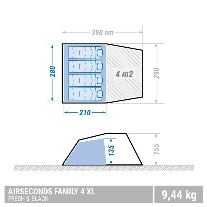 Tente de camping familiale Air seconds family 4 XL Fresh & Black I 4 personnes - 1355444