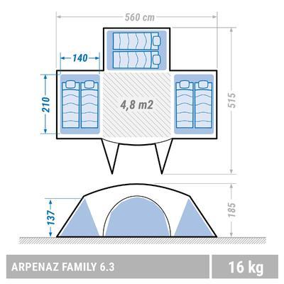 Carpa familiar Apernaz 6.3   6 personas; 3 habitaciones