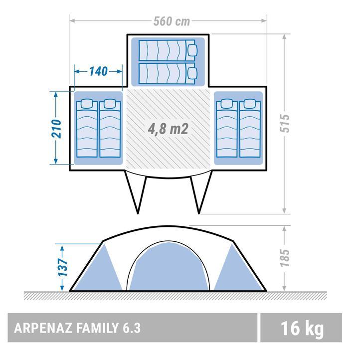 Familienzelt Arpenaz Family 6.3 für 6 Personen blau