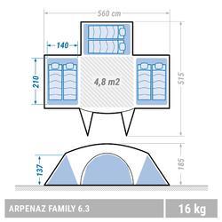 Familienzelt Stangenaufbau Arpenaz 6.3 für 6 Personen 3 Schlafkabinen