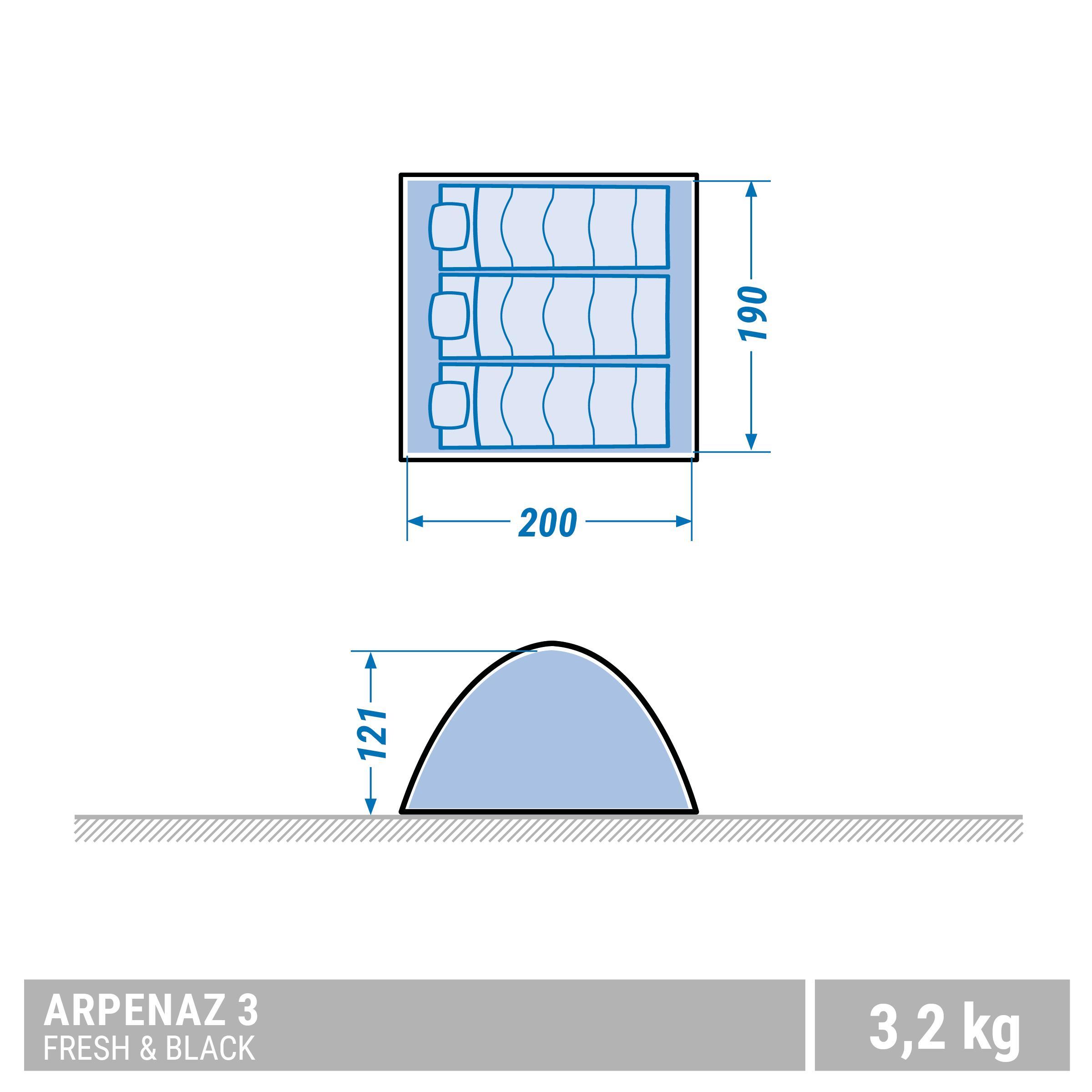 Tente de camping ARPENAZ 3 FRESH&BLACK _PIPE_ 3 personnes