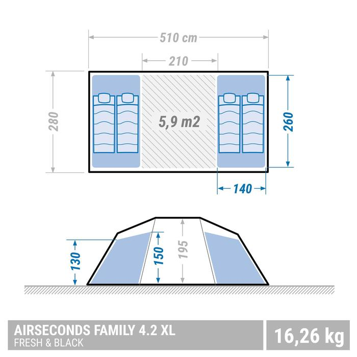 Tente de camping familiale Air Seconds family 4.2 XL Fresh & Black I 4 personnes - 1355451