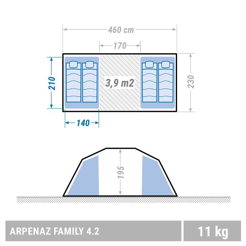 Carpa de camping familiar Arpenaz 4.2 | 4 personas