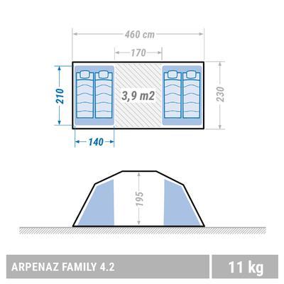 Сімейний намет Arpenaz 4.2 для кемпінгу, 4-місний