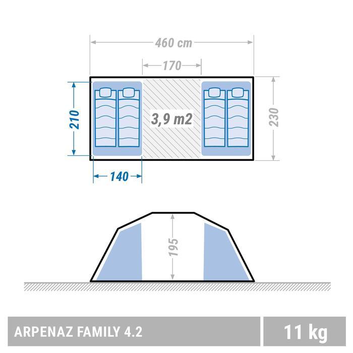 Familienzelt Stangenaufbau Arpenaz 4.2 für 4 Personen in 2 Schlafkabinen