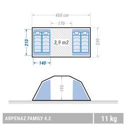 Kampeertent met bogen ARPENAZ 4.2 | 4 personen 2 slaapcompartimenten