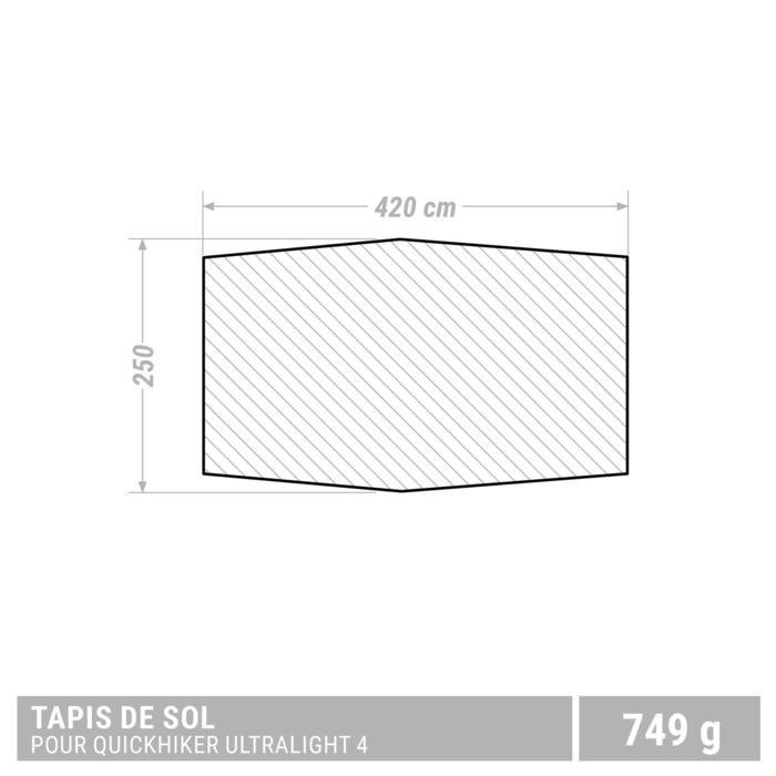Tapis de sol de tente de trek Quickhiker Ultralight 4 personnes gris clair - 1355464
