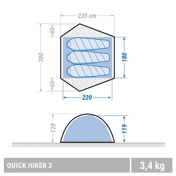 Tente de trek Quick Hiker 3 personnes verte - 1355468