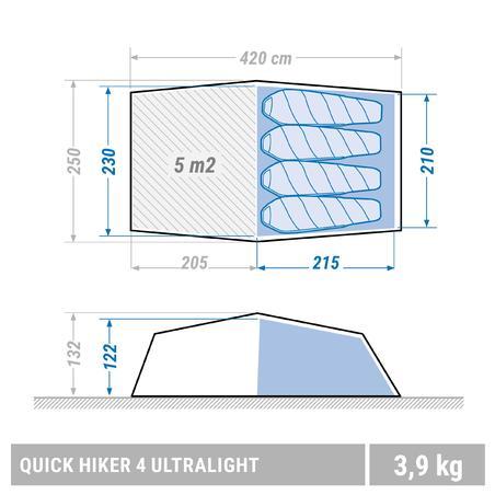 Намет Quickhiker Ultralight для трекінгу, на 4 особи - Світло-сірий
