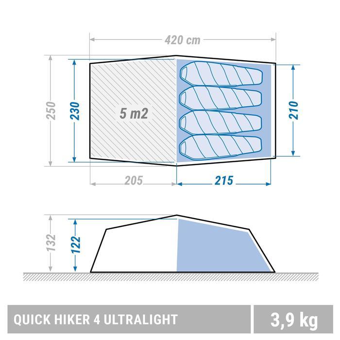 Trekkingtent Quickhiker Ultralight 4 personen lichtgrijs