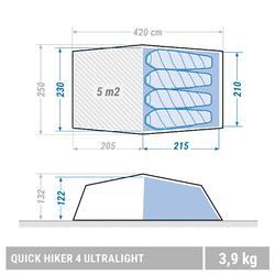 Trekkingzelt Quickhiker Ultralight 4 Personen hellgrau