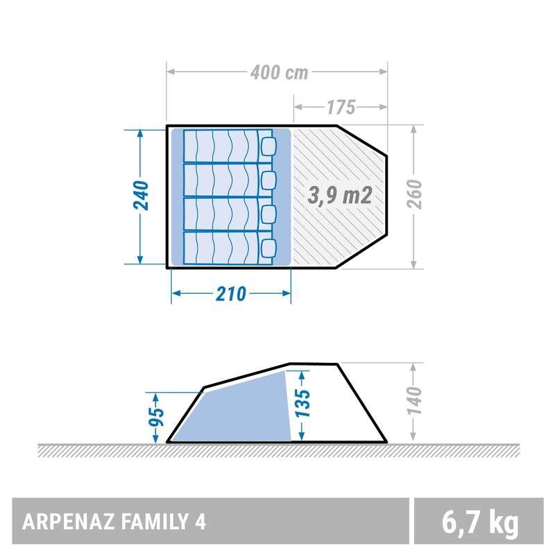 TENDA ABRIGOS FAMILIARES 4-8 P Campismo - Tenda ARPENAZ 4 Pessoas QUECHUA - Tendas de Campismo