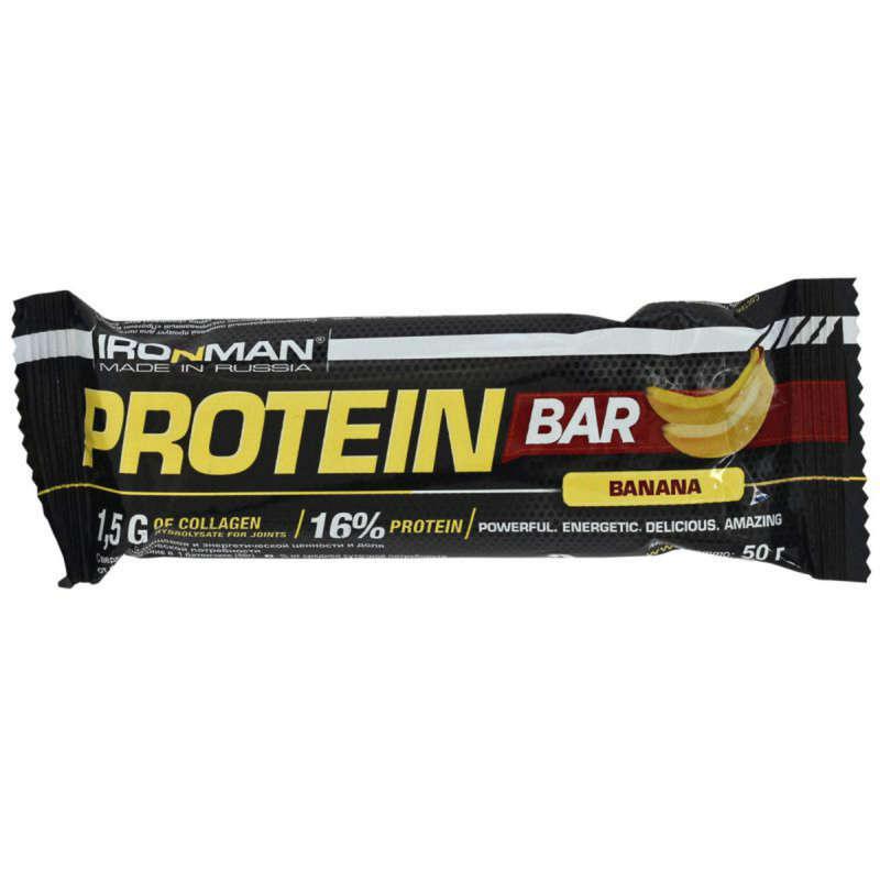 БАТОНЧИКИ, ГЕЛИ И ПРОДУКТЫ ПОСЛЕ СПОРТА Спортивное питание - Прот. бат. Ironman 16% банан IRONMAN - Спортивное питание