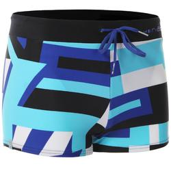 100 PEP MEN'S BOXER SWIM SHORTS - BLACK/BLUE
