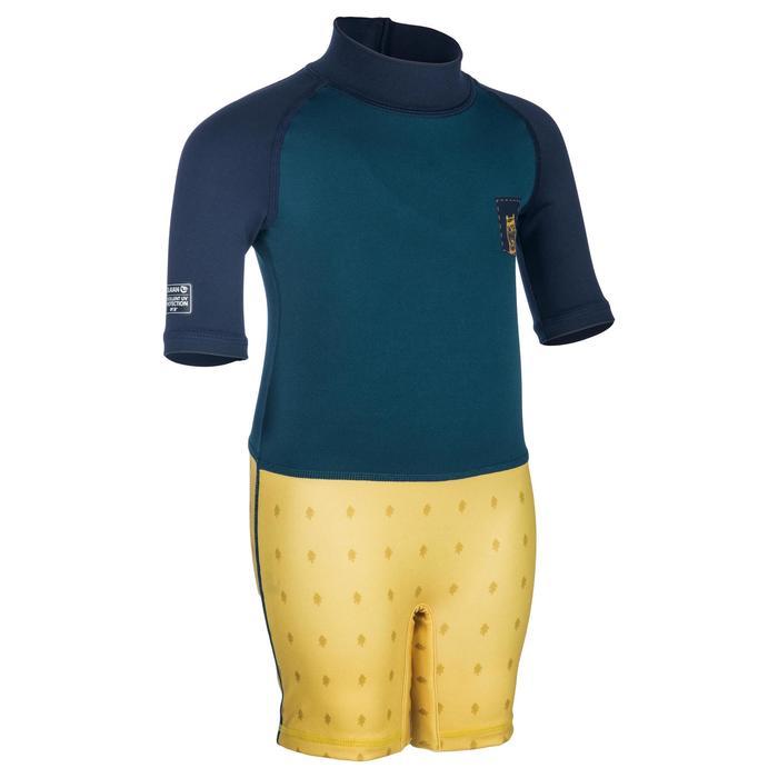 uv-werende shorty met korte mouwen voor peuters blauw geel