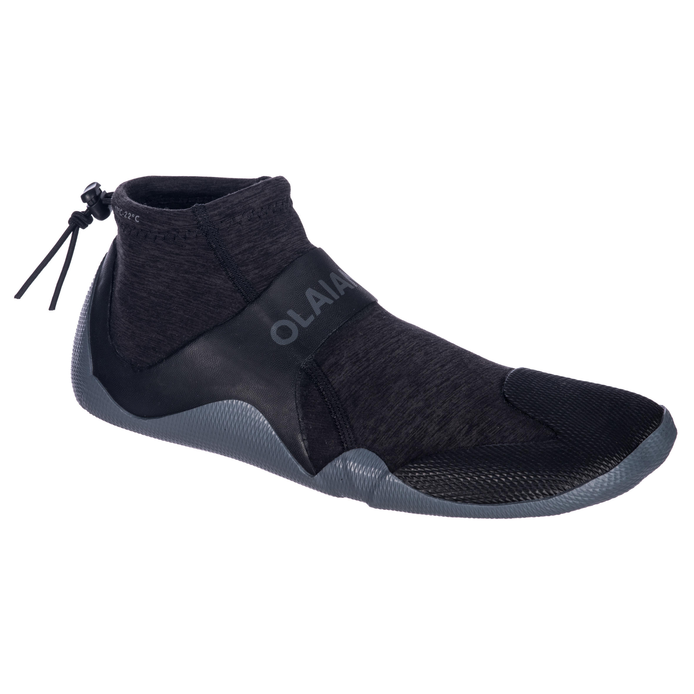 Zapatos acuáticos de caña baja Surf 500 Neopreno 2 mm Gris negro