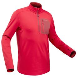 SH500 Men's warm long sleeve red snow hiking t-shirt.