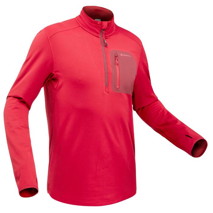 Tee-shirt de randonnée neige manches longues homme SH500 warm rouge.