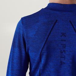 Thermoshirt kind Keepdry 500 met lange mouwen gemêleerd blauw
