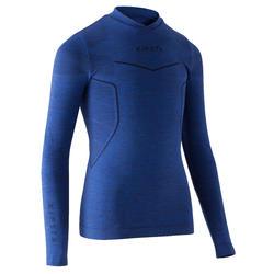 兒童款足球長袖底層衣KEEPDRY 500-鋼藍色