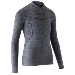 Camiseta térmica de fútbol manga larga Keepdry 500 gris jaspeado