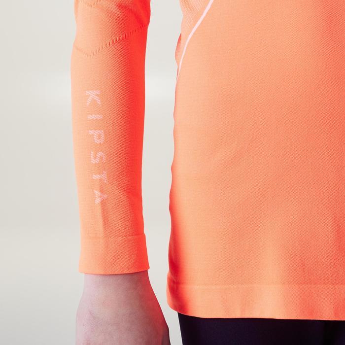 Camiseta térmica manga larga júnior Keepdry 500 naranja fluorescente