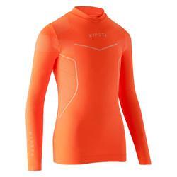 Ondershirt voor voetbal lange mouwen kinderen Keepdry 500 fluo-oranje