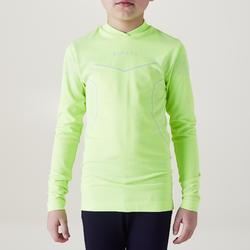Camiseta Térmica Transpirable Manga Larga Kipsta KDRY500 Amarillo Limón