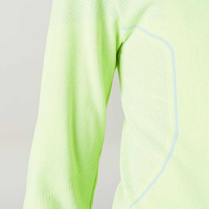 Camiseta térmica de fútbol manga larga júnior Keepdry 500 amarillo fluo