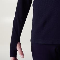 Camiseta Térmica Manga Larga Transpirable Cálida Kipsta KDRY900 Adulto Negro