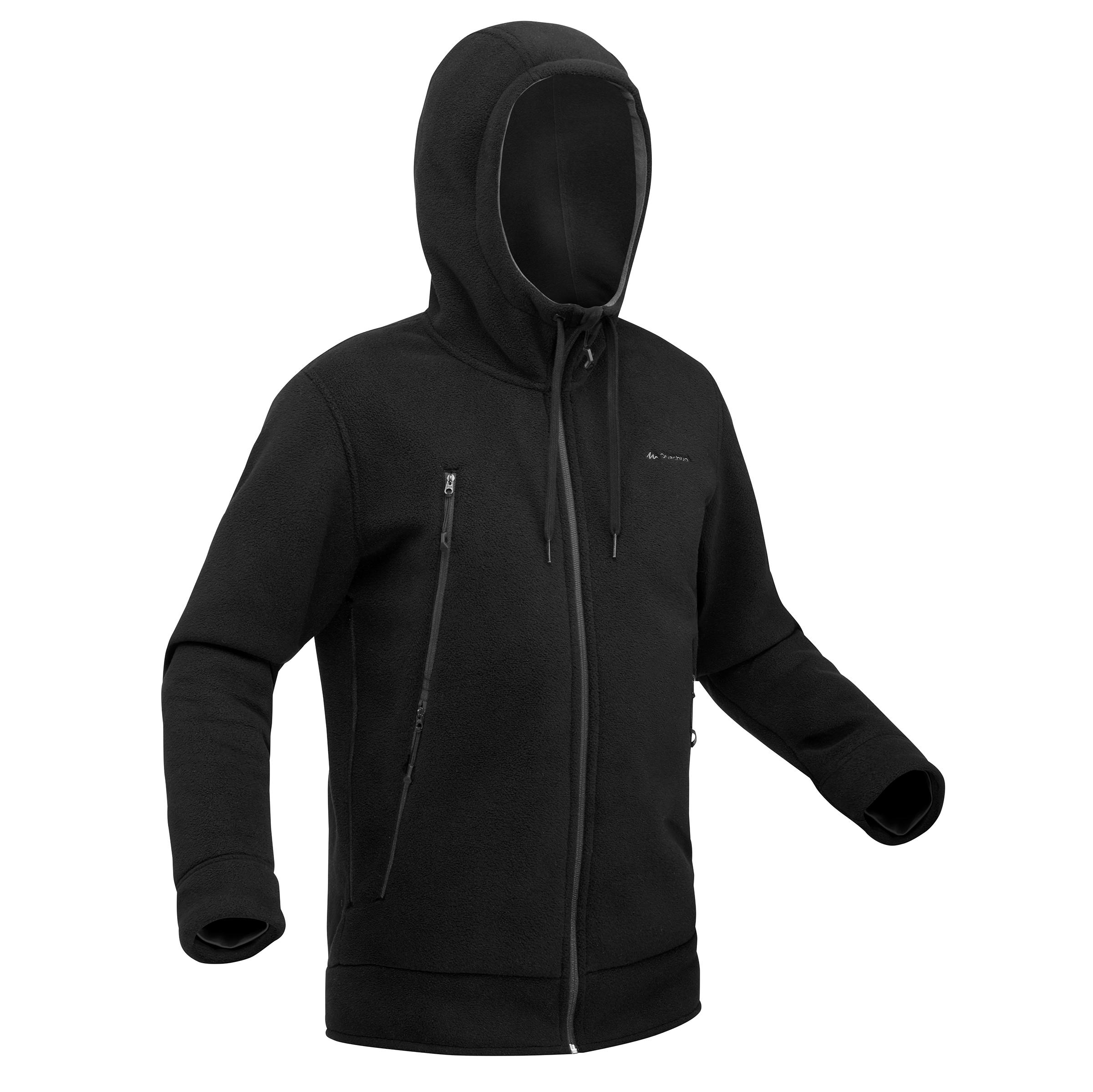SH100 Men's Ultra-Warm Black Snow Hiking Fleece Jacket.