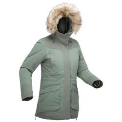 Parka cálida impermeable de senderismo nieve mujer SH500 ultra-warm caqui