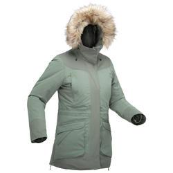 Chaqueta de senderismo nieve mujer SH500 ultra-warm caqui
